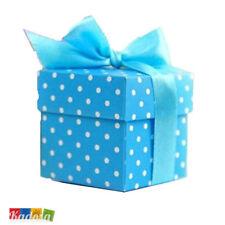 10pz Scatole Porta Confetti Azzurre Pois Bianchi + Nastro - Bomboniera Battesimo