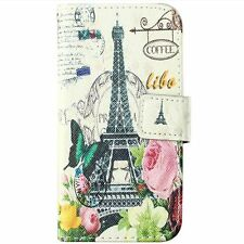 Samsung Galaxy S5 Mini -Leather Card Wallet Pouch Case Paris Eiffel Tower Flower