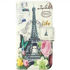 Samsung Galaxy S5 Mini -Leather Card Wallet Pouch Case Paris Eiffel Tower Flower