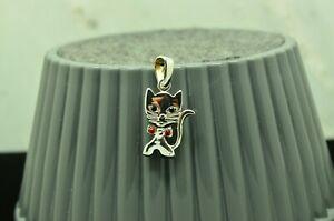 SILVER PLATED KITTY CAT WITH RED CZ PENDANT CHARM  #X29607