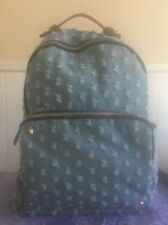 MMS Design Studio Backpack Blue Distressed  Ripped Denim Gold Hardware Very Good