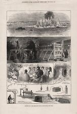 OLD ANTIQUE 1876 PRINT BLOWING UP THE HELL GATE ROCKS IN EAST RIVER NEW YORK b76