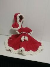 Vintage Handmade Crocheted Baby Doll Hat Dress Hand Muff Set. Red/White. Used