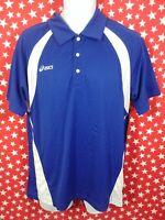 ASICS Men's Polo Shirt Blue White Medium new nwt A571
