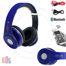 Wireless Bluetooth 4.2 Stereo Headsets Foldable Blue Headphone Mic FM Radio UKED