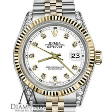 Unisex Rolex 36mm Datejust 18K SS 2 Tone White Color Diamond Dial Jubilee Watch