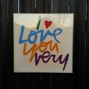 Mary Corita I Love You Very Signed Serigraph Print Plexiglas Frame Discoloration