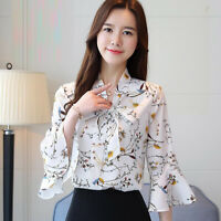 Spring Women Floral Bow Tie Neck Summer Bell Sleeve Ladies OL T Shirt Blouse Top