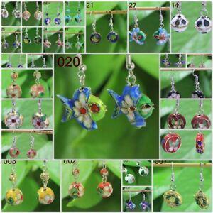 Wholesale Gift Vintage Jewelry Women Cloisonne Big 12mm Earring Dangle Eardrop