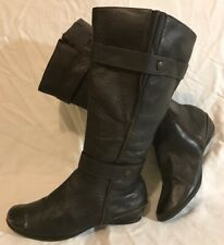 George Extra Wide Calf Dark Brown Mid Calf Leather Lovely Boots Size 6 (962vv)