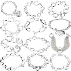 Silver plated jewellery bracelet bangle charm link chain heart cuff Ladies V001
