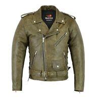 Motorcycle Vintage Brown Distressed Leather Harley Brando Jacket Armoured