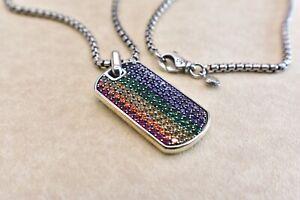 David Yurman Steamline Rainbow Pave Tag