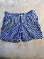 COLUMBIA PFG Super Bonehead Shorts 8 Blue/White Check WOMEN'S