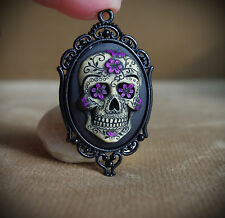 Purple & Black Sugar Skull Calavera Day of the Dead Dia De Los Muertos Necklace