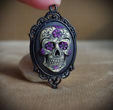 Purple & Black Sugar Skull Calavera Day of the Dead Dia De Los Muertos Necklace