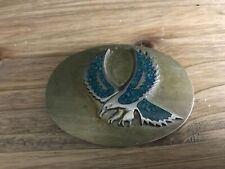 Vintage SILVERTONE Eagle Flying BELT BUCKLE WITH TURQUOISE CHIP INLAY AS-IS WEAR