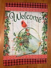 New listing Carson Welcome Cardinal Bird Watering Can Outdoor House Flag Large Double Sided