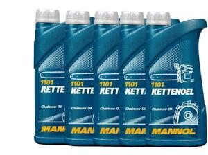 5x1 Liter  Mannol Kettenhaftöl Kettenöl mineralisch  Kettensägeöl Motorsägenöl