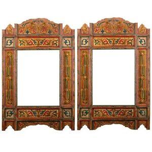 Set of 2 Painted Orange hanging mirror frame, Moroccan Vintage farmhouse decor