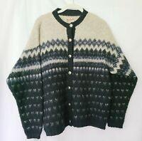 Vintage WOOLRICH Women's Fair Isle Cardigan Tan Blue WOOL Sweater Size Medium