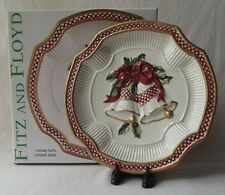 "Fitz & Floyd 2003 Collectors Series 'Holiday Bells' Canape Plate 9"" New In Box"