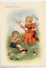 GIBI Spledida augurale con Bambini Flauto Musica Fiori Childrens PC circa 1940