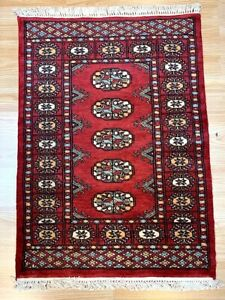 Bokhara Rug in Red - Original Hand Knotted Oriental Wool Rug XS 64x88cm -40% RRP