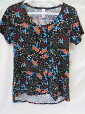 Lularoe Classic T Shirt Short Sleeve Black w Multi Color Floral Size XS #5882