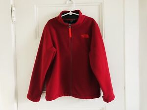 The North Face Boys Sherpa Lined Fleece Jacket Red 7 - 8 Full Zip EUC