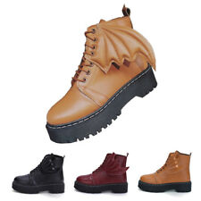 New Ladies Bat wing Creepers Chunky Cleated Platform Goth Punk Ankle Boots Shoes
