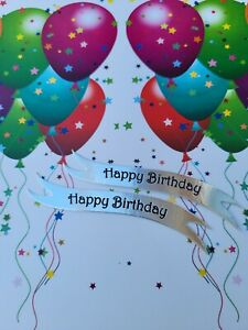 10 Happy Birthday die cut banners card toppers embellishments
