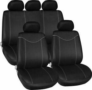BLACK GREY CAR SEAT COVERS FOR FIAT GRANDE PUNTO PANDA