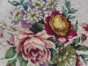 Vintage Handmade Needlework Needlepoint Petit Point Floral Tapestry Panel.