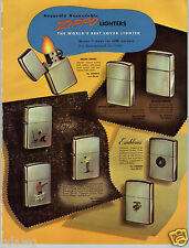 1954 PAPER AD 2 Sided Zippo Lighter Sports Town & Country Emblem Table Leather