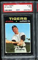 1971 Topps Baseball #180 AL KALINE Detroit Tigers UER ERROR  PSA 7 NM