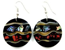 Natural Abalone Shell Red Coral Dangle Drop Earrings Handmade Jewelry CA097