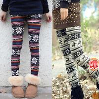 Womens Multi-Style Nordic SnowFlake Reindeer Knitted Xmas Leggings