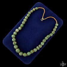 Antique Vintage Deco Sterling Silver Chinese Aventurine Bead Bracelet Necklace