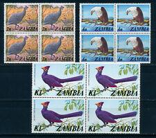 ZAMBIA 1975 DEFINITIVES SG227,229,238 BLOCKS OF 4 MNH
