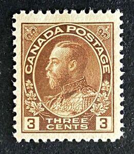 Canadian Stamp, Scott #108 3c King George V 1918 VF M/Hinge. Brown color.