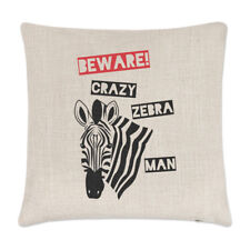 Beware Crazy Zebra Man Linen Cushion Cover Pillow - Funny Zoo Safari