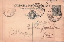 INTERO POSTALE DA 15 CENT. DA ALBENGA PER ONZO 1919 C10-669