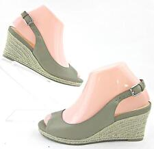 Cole Haan 'Adelaide' Slingback Wedge Sandals Olive Taupe Leather Sz 6.5B