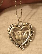 Handsome Openwork Heart-Rimmed Descending Holy Spirit Dove Pendant Necklace