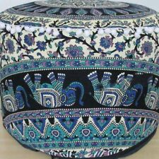 Indian Cotton Mandala Pouf Round Floor Ottoman Cover Hippie Footstool Pouffe Art
