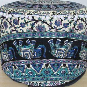 Indian Cotton Mandala Pouf Round Floor Ottoman Cover Hippie Footstool Pouffe Art