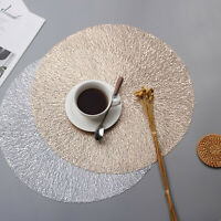 Set of 4 Round PVC Placemats Kitchen Washable Table Mat Non-Slip Heat Insulation