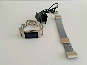 Fitbit Charge 2 Heart Rate Monitor Fitness  Tracker FB407 + metal silver band.