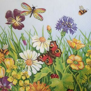 4 Paper Napkins for Crafting- Beautiful Flowers 13 inches - Decoupage Napkins
